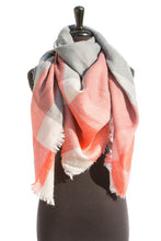 Load image into Gallery viewer, Orange/Grey Plaid Blanket Scarf