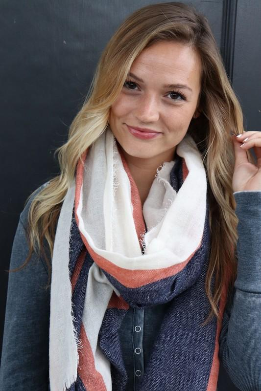 Cream/Coral/Navy Striped Scarf