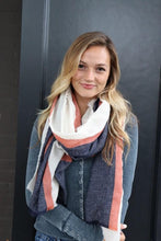 Load image into Gallery viewer, Cream/Coral/Navy Striped Scarf