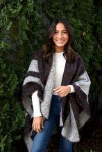 Load image into Gallery viewer, Fuzzy Brown and Grey Stripe Shawl