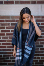 Load image into Gallery viewer, Navy Plaid Fringe Shawl
