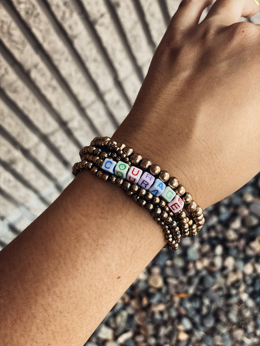 Courage Bracelet - Gold & Colored Bead
