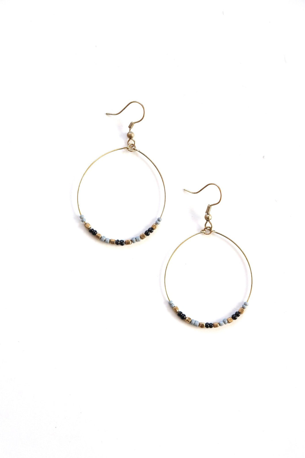 Black & Grey Brass Hoops - Small