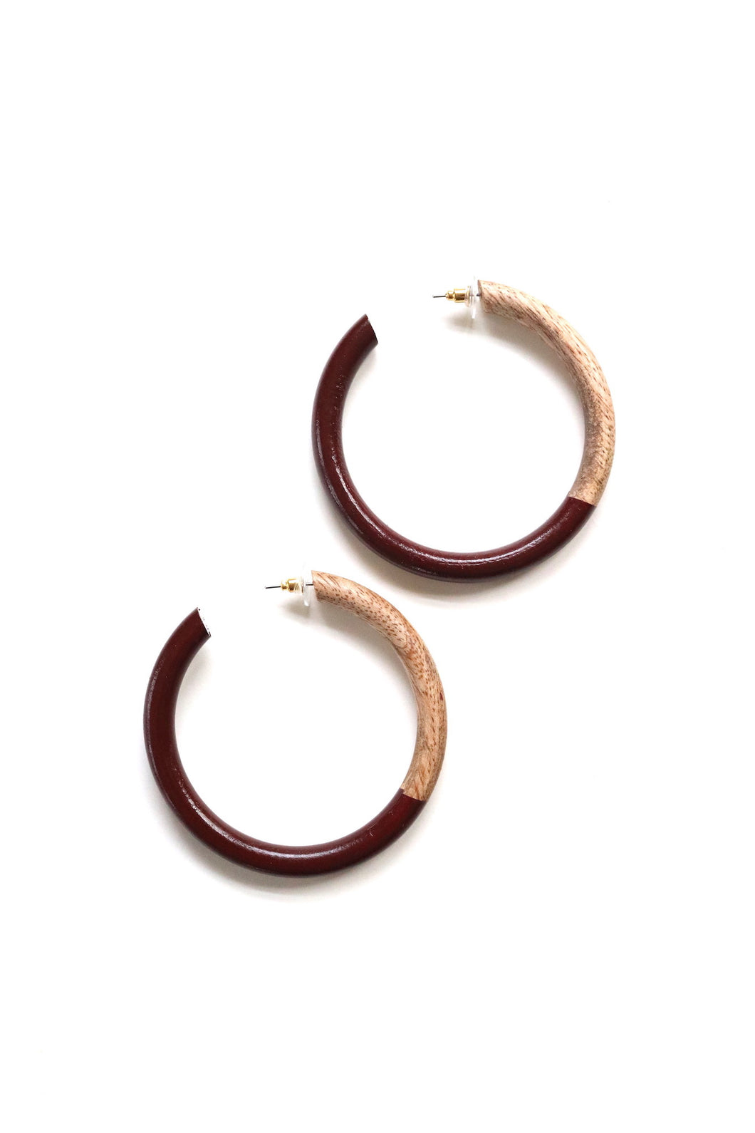 Maroon Wood Painted Hoops