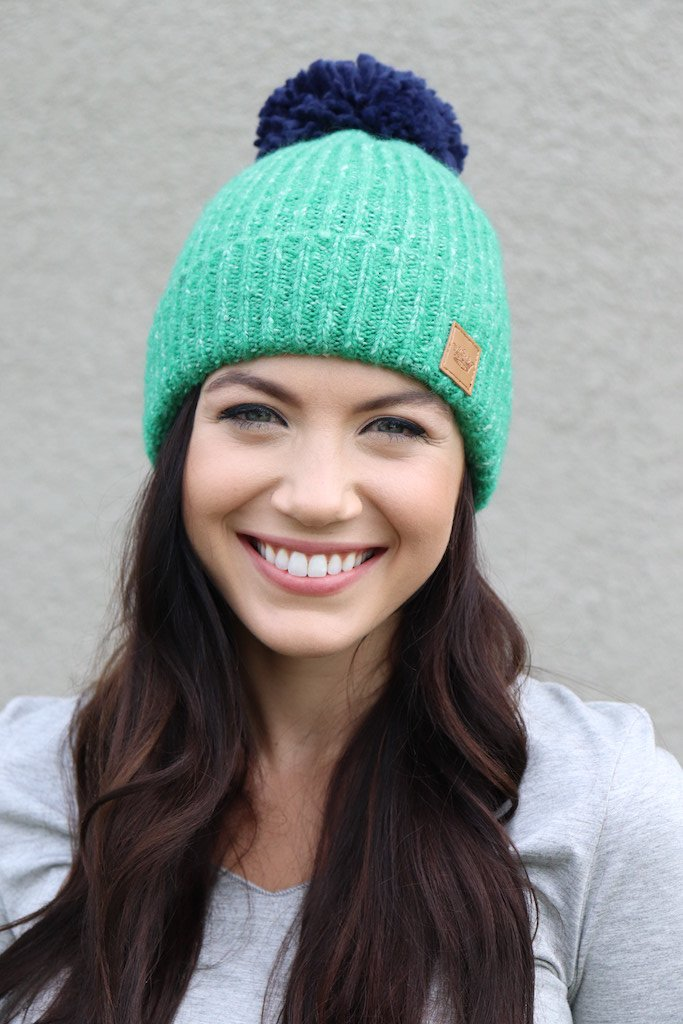 Green Hat with Navy Pom