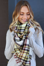 Load image into Gallery viewer, Yellow/Maroon Plaid Blanket Scarf