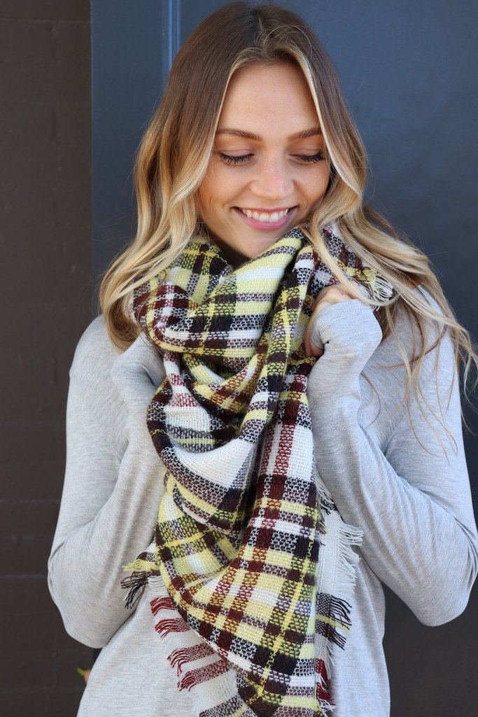 Yellow/Maroon Plaid Blanket Scarf