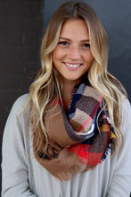 Load image into Gallery viewer, Camel Plaid Infinity Scarf