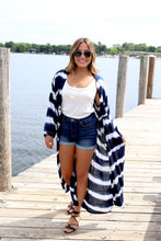 Load image into Gallery viewer, Navy Tie Dye Kimono