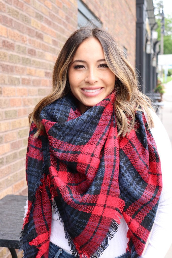 Red/Navy Plaid Scarf