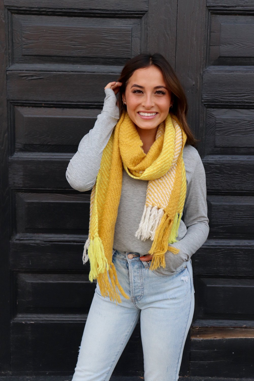 Yellow Herringbone Scarf