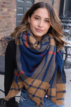 Load image into Gallery viewer, Navy/Tan Plaid Blanket Scarf