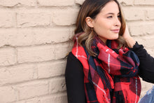 Load image into Gallery viewer, Red/Navy Plaid Scarf