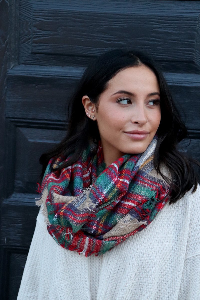 Red/Green/Tan Plaid Infinity Scarf
