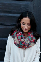 Load image into Gallery viewer, Red/Green/Tan Plaid Infinity Scarf