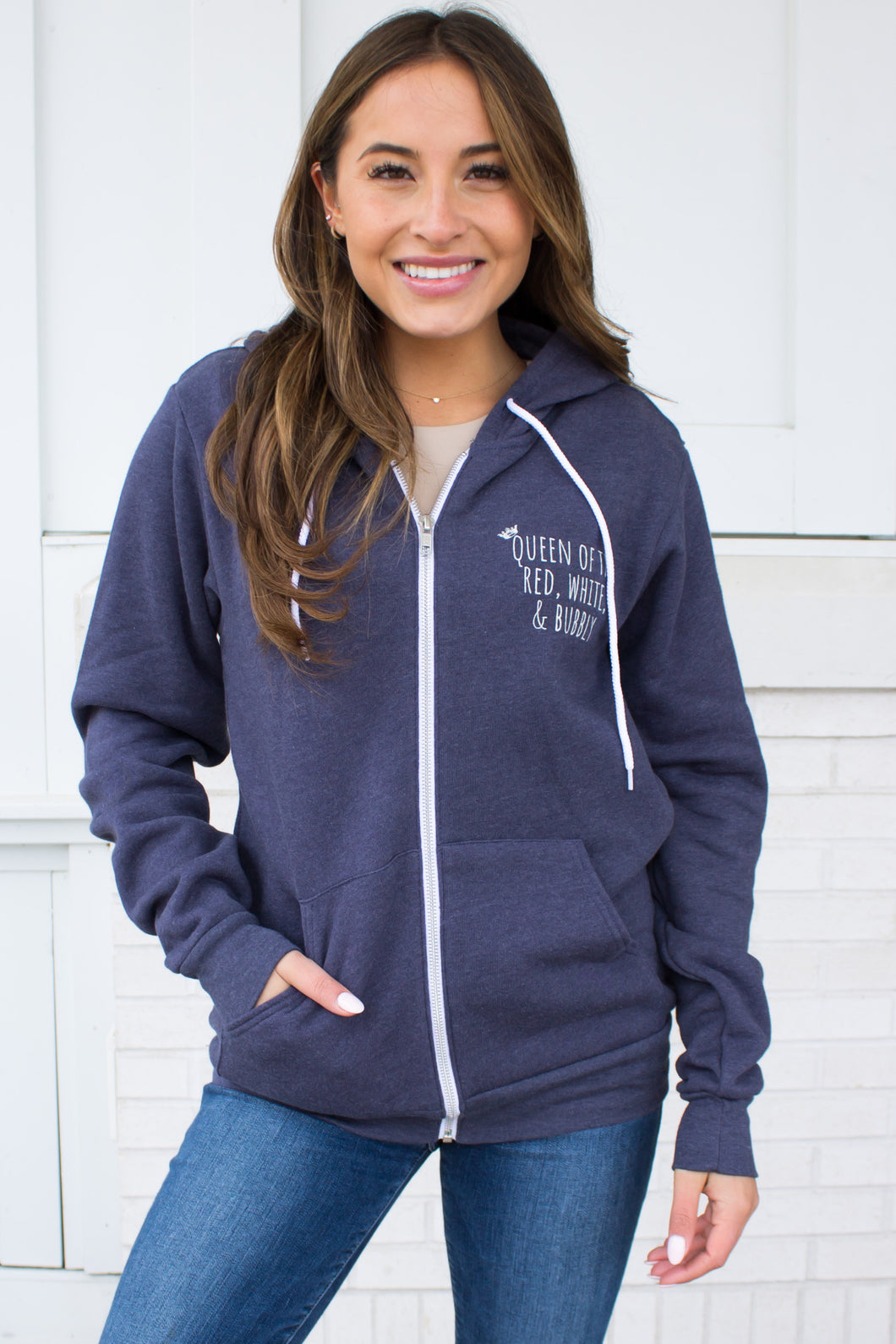 Queen of the Red, White & Bubbly Zip Hoodie