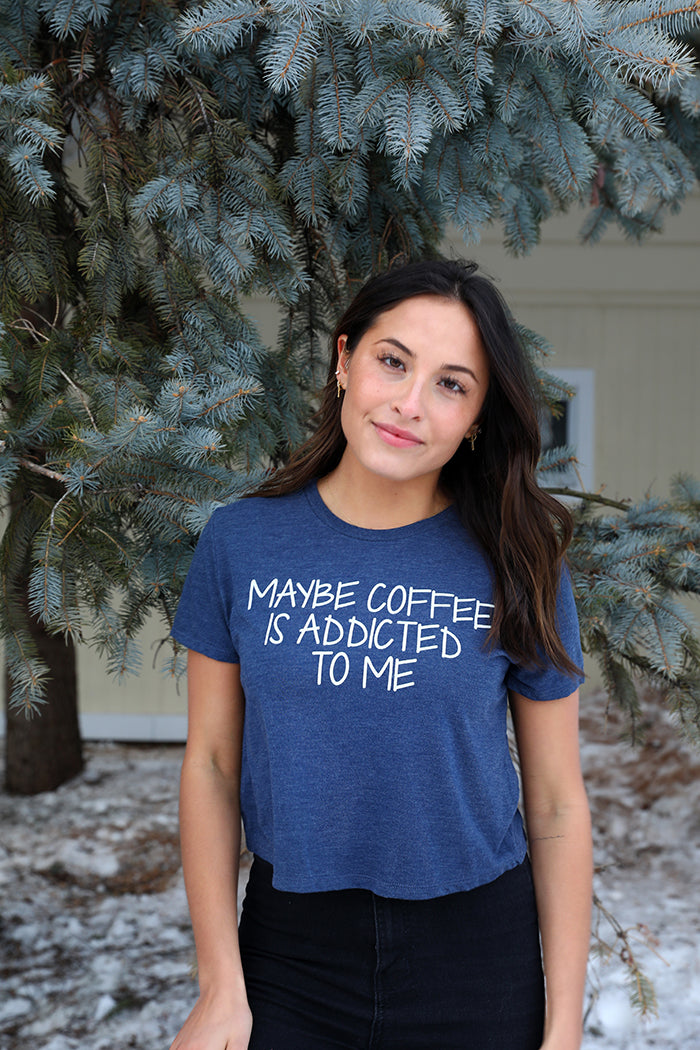 Maybe Coffee Cropped Graphic Tee - Navy