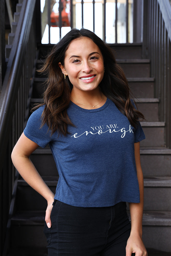 You Are Enough Cropped Tee - Navy