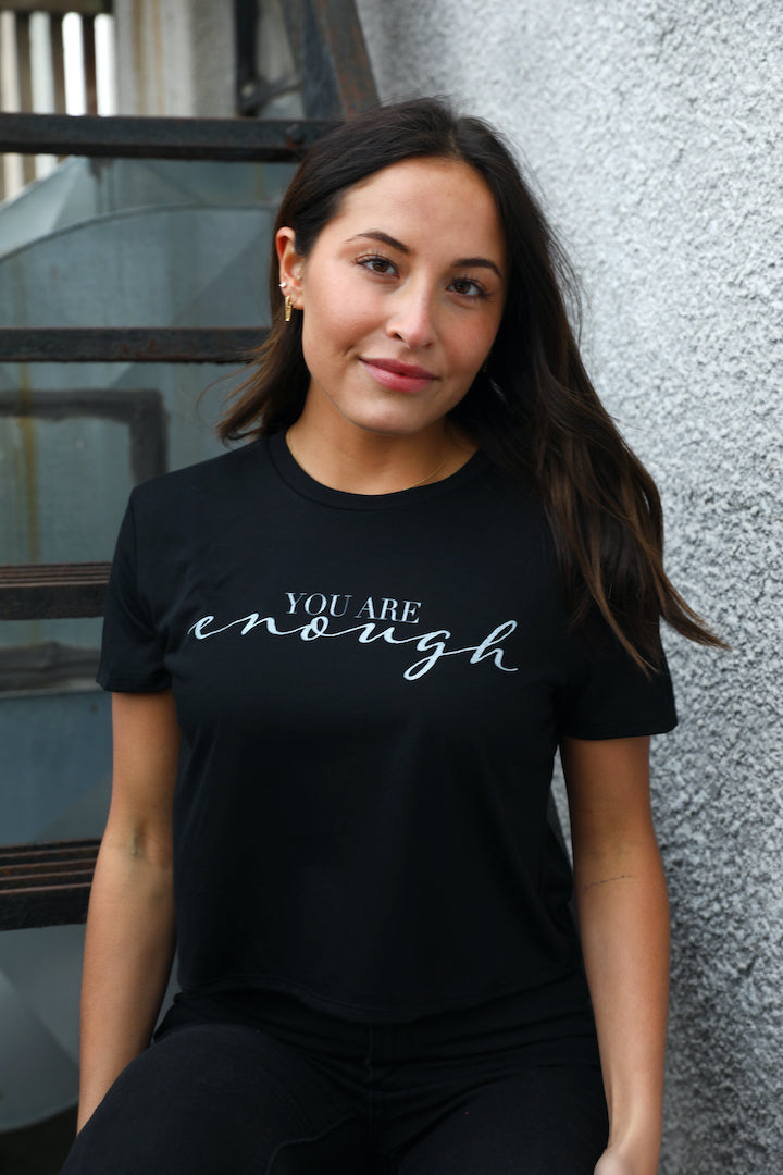 You Are Enough Cropped Tee - Black