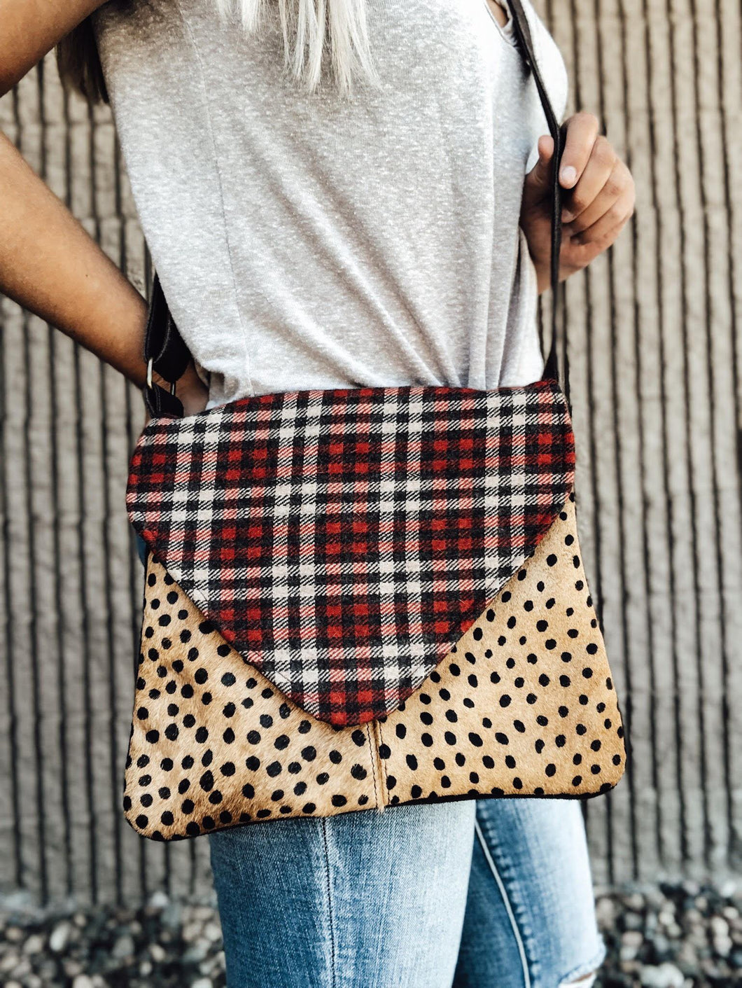 Leopard and Plaid Crossbody