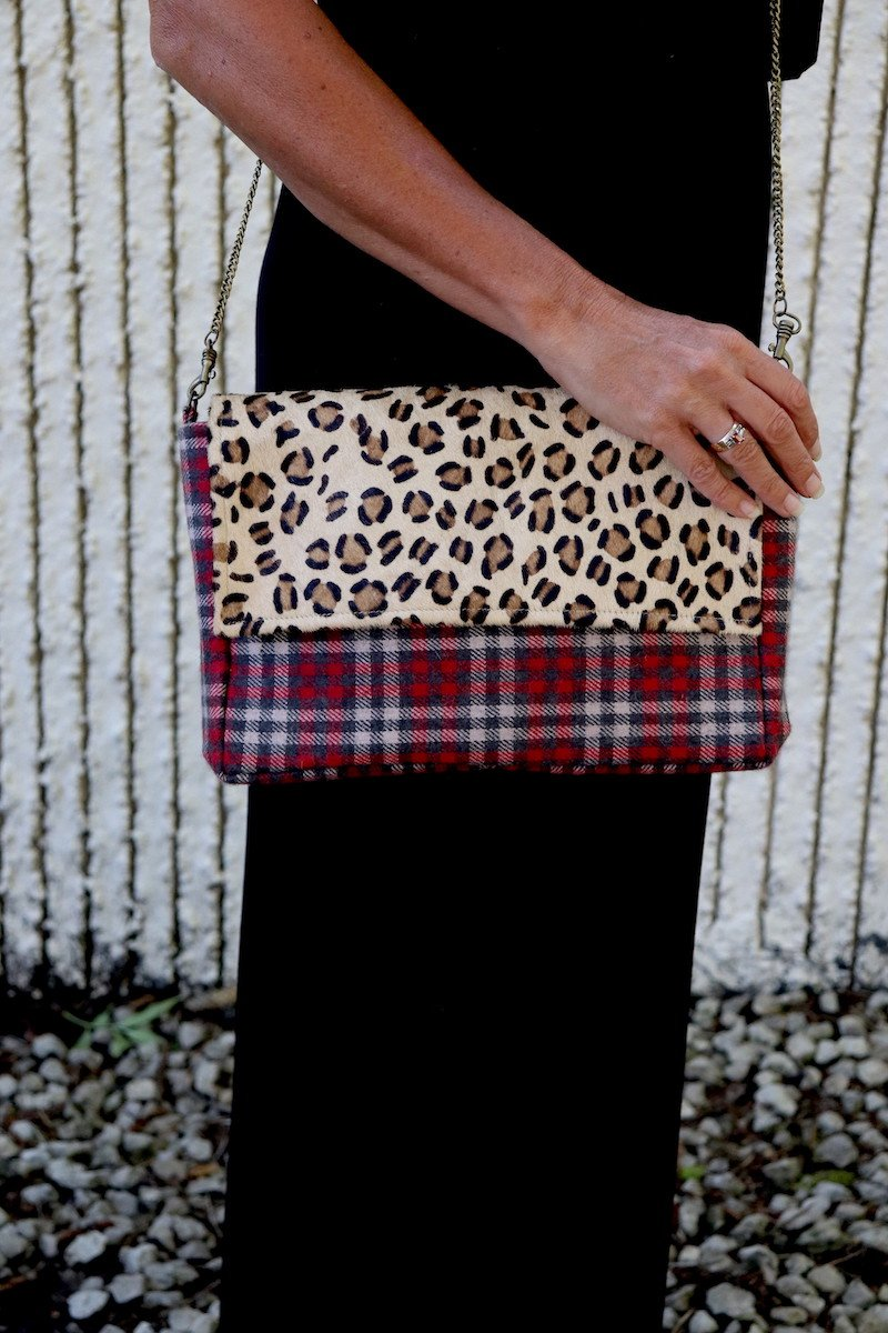 Rectangle Leopard and Plaid Crossbody
