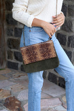 Load image into Gallery viewer, Snakeskin Print & Olive Suede Cross Body