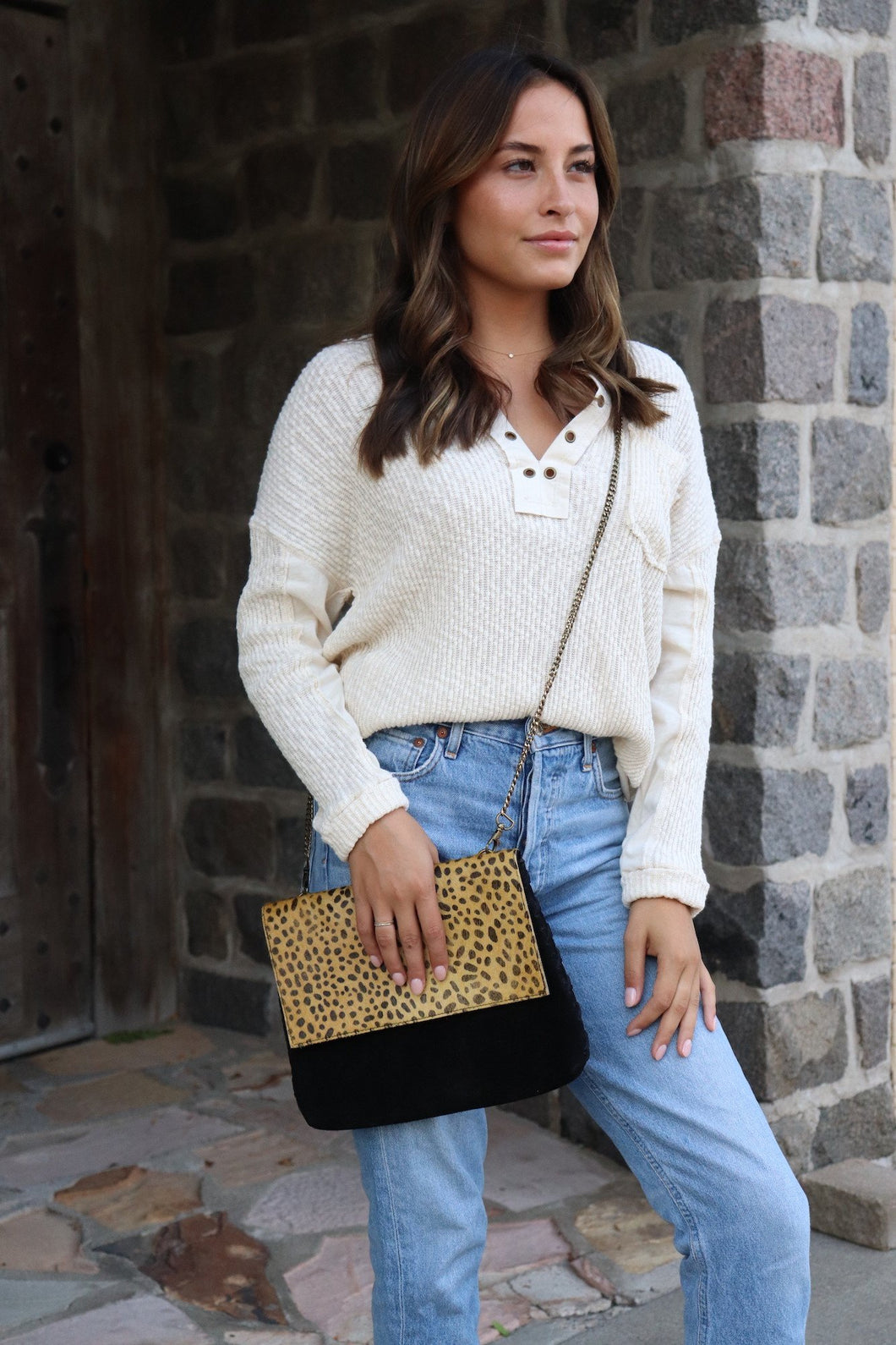 Leopard and Black Cross Body