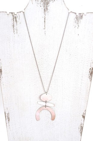 Long Geometric Necklace - Silver