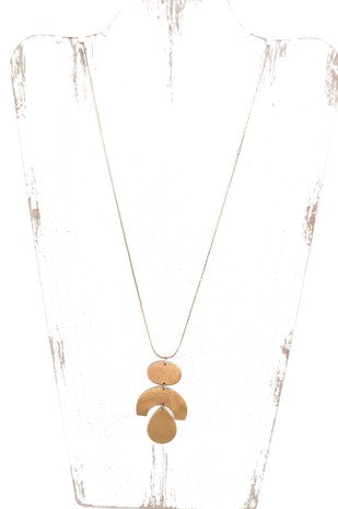 Long Geometric Necklace - Gold