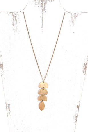 Long Necklace with Geometric Shapes
