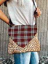 Load image into Gallery viewer, Plaid & Cheetah Print Cross Body Bag
