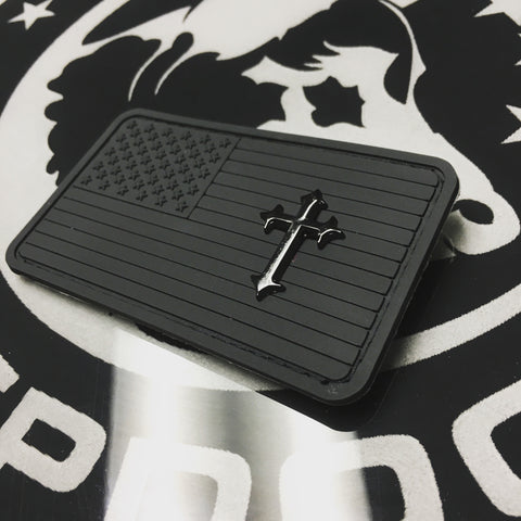 Murdered US Flag Patch with Black Nickel Cross
