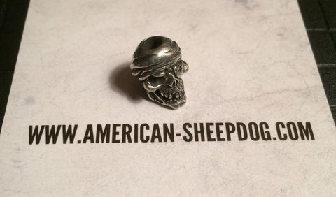 One Eyed Jack Skull Bead - Pewter