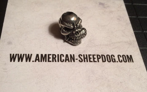 Skull & Rose Bead - Pewter