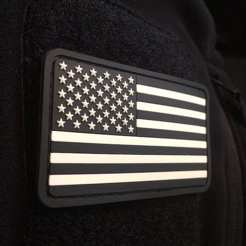 American Flag Patch - Black/White Version