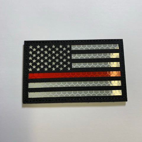 Reflective Thin Red Line US Flag Patch