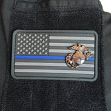 Stealth Thin Blue Line Patch with Marine Corps EGA