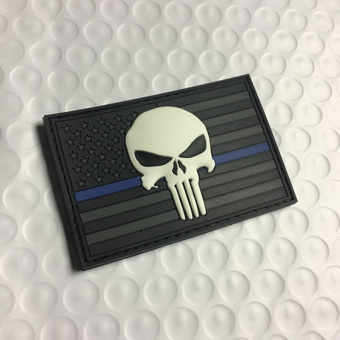 Punisher Thin Blue Line US Flag Patch