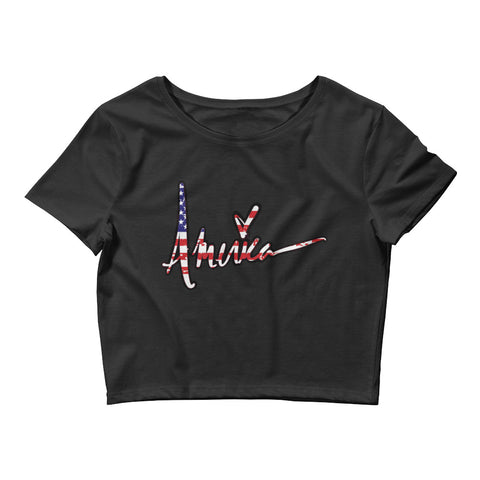 Patriotic 'AMERICA' Women's Crop Tee