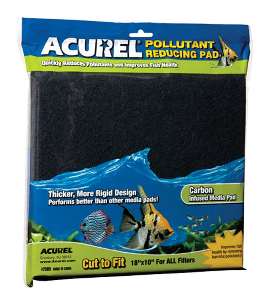 Acurel Cut to Fit Carbon Filter Media Pad Black 10x18