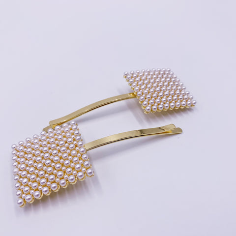 Pearly Square Hair Clips