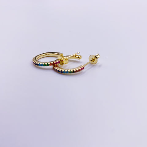 Rainbow Miniature Hoop Earrings