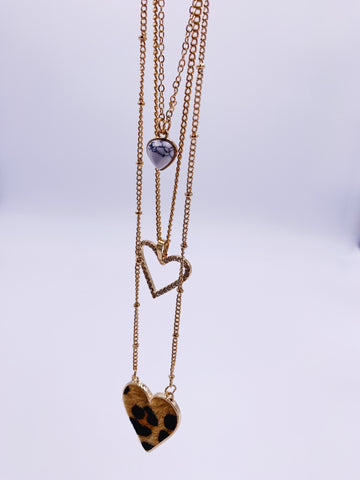 Cheetah Heart Layered Necklace