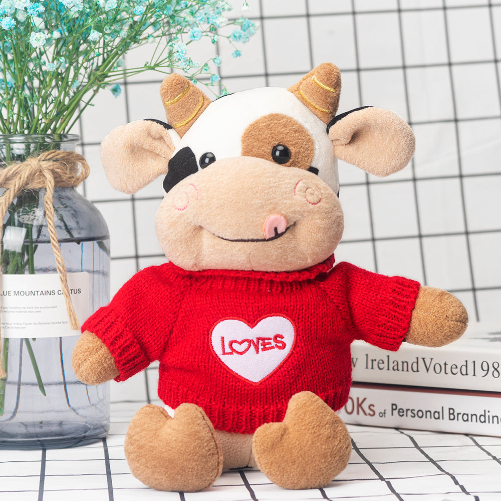 I Love You Plush Toy Cow Decorative Stuffed Doll Valentine Gift Bedroom Decoration