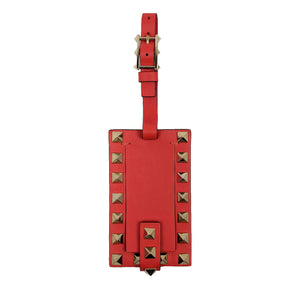 Valentino Red Rockstud Leather Luggage Tag