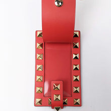 Load image into Gallery viewer, Valentino Red Rockstud Leather Luggage Tag