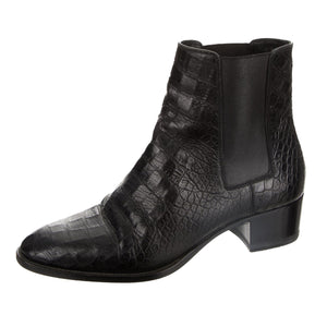 Saint Laurent Black Crocodile Leather Round-Toe Ankle Boots US 8 / EU 38
