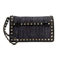 Load image into Gallery viewer, Valentino Small Rockstud Denim Clutch Wristlet