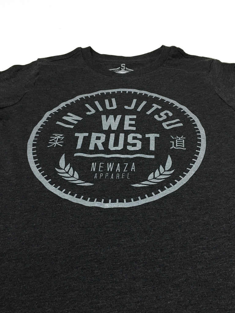 In Jiu Jitsu We Trust (Women's Gray on Heather Black Tee)