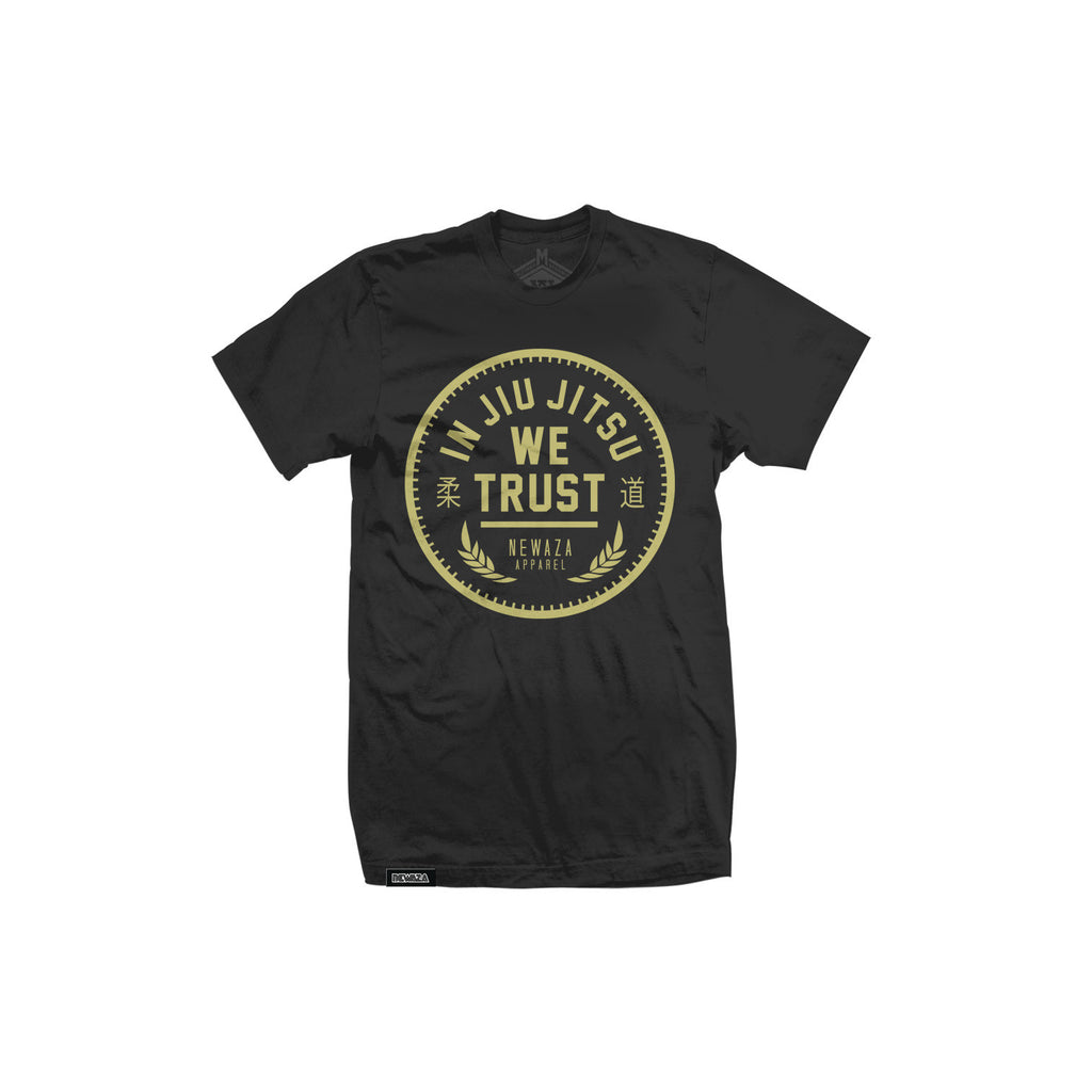 In Jiu Jitsu We Trust Gold on Black tee